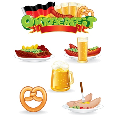 Oktoberfest Food and Drink Icons  Vector Graphics