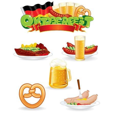 Oktoberfest eten en drinken iconen vectorafbeeldingen