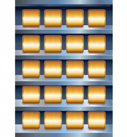 Vector Metallic Shelves with Empty Golden Buttons Stock Vector - 20043265