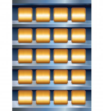 Vector Metallic Shelves with Empty Golden Buttons Stock Vector - 20043265