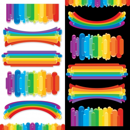 Set of Rainbow Design Elements  Vector Collection Vector