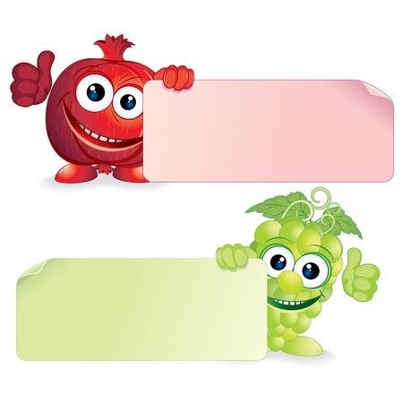 Pomegranate and Grapes  Vector Cartoon Illustration
