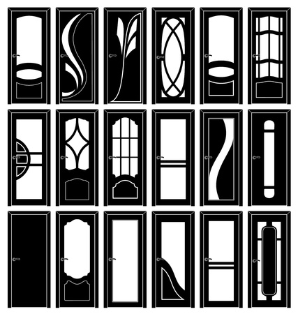 front office: Collection of Interior Doors Silhouettes Stock Photo