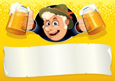 Oktoberfest Poster with Funny Brewer photo