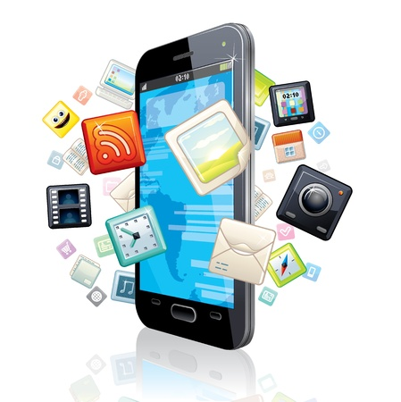 Touchscreen Smart Phone with Cloud of Application Icons  Stock Photo