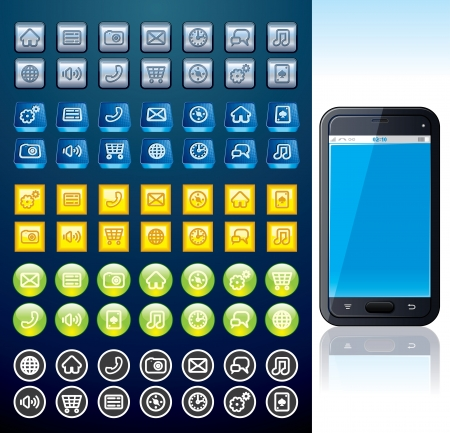 shiny buttons: Smartphone with Set of Various Interface Buttons Stock Photo