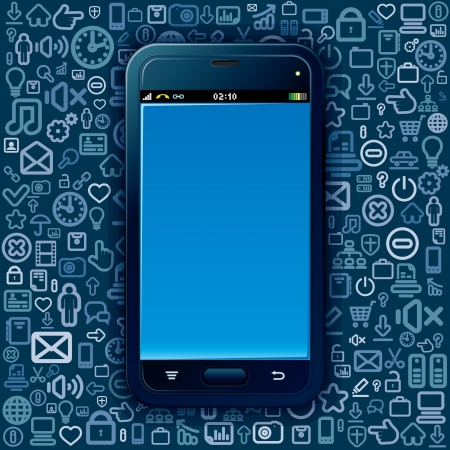 Smart Phone on Social Media Pattern Stock Photo - 20043409