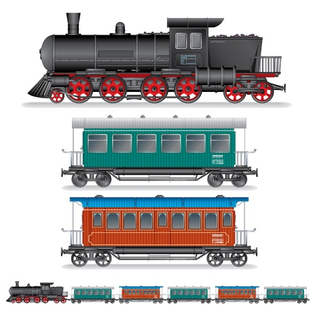 steam locomotives: Illustration of Retro Steam Train with Coach Wagon Stock Photo