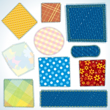 Set of Various Isolated Cloth, Fabric Patches Stock Photo - 20035878