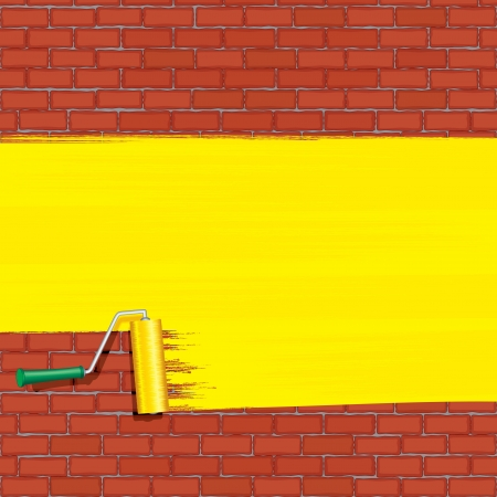 redecorate: Yellow Roller Brush Painting on Brick Wall