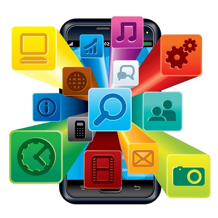 Touchscreen Phone with Cloud of Application icons  Stockfoto