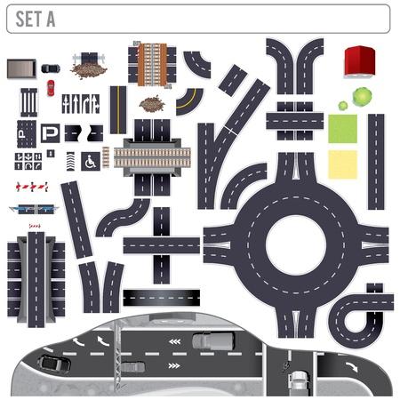 Moderne Landstraßen-Karte Toolkit Set A