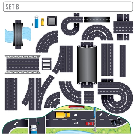 road tunnel: Modern Highway Map Toolkit  Set B Stock Photo