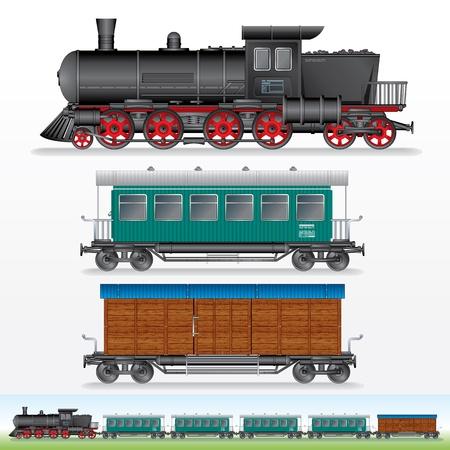 maquina de vapor: Lokomotive Steam Retro, Carga y Pasajeros Waggon Foto de archivo