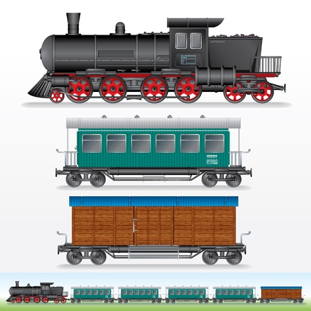 wood railroad: Retro Steam Lokomotive, Cargo and Passenger Waggon