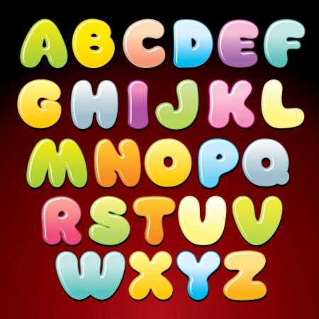 Colorful Candy Alphabet Vector Ilustração