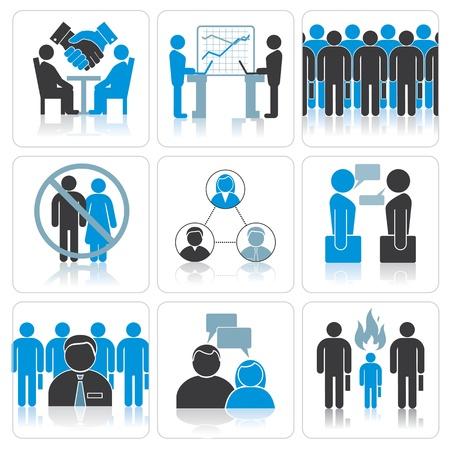 Human Resources en management Vector Icons Set Stock Illustratie