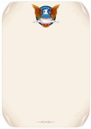 great seal: Old Scroll with American Eagle  Vector Background Illustration