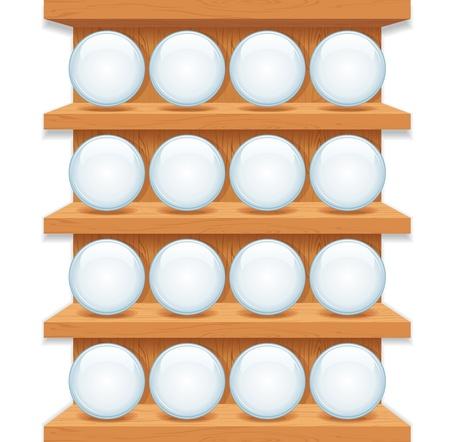 �tag�re bois: �tag�re en bois avec verre ronde boutons vecteur Art