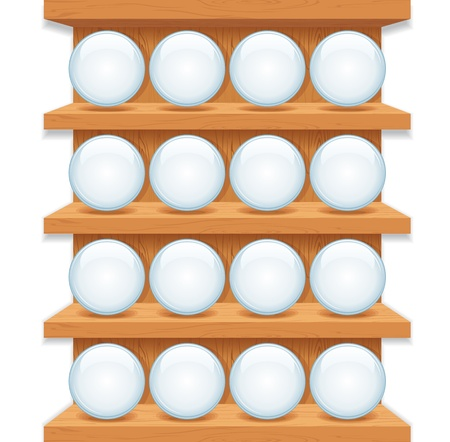 Wooden Shelf with Round Glass Buttons  Vector Art Vector