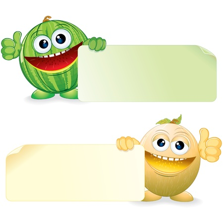 melon: Watermelon and Melon  Vector Cartoon Illustration