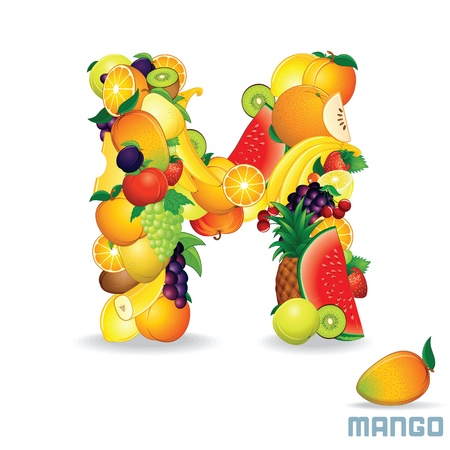 Alphabet From Fruit  Letter M photo