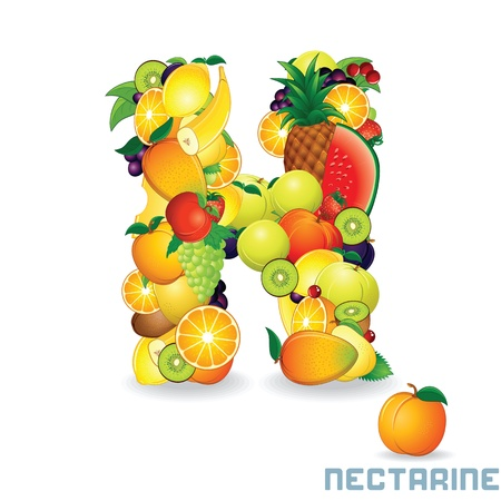 Alphabet From Fruit  Letter N photo