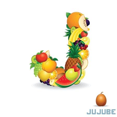 jujube fruits: Alphabet From Fruit  Letter J Stock Photo
