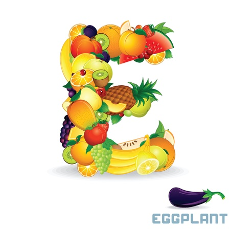 Alphabet From Fruit  Letter E photo