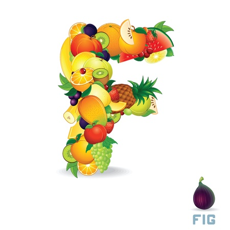 Alphabet From Fruit  Letter F photo