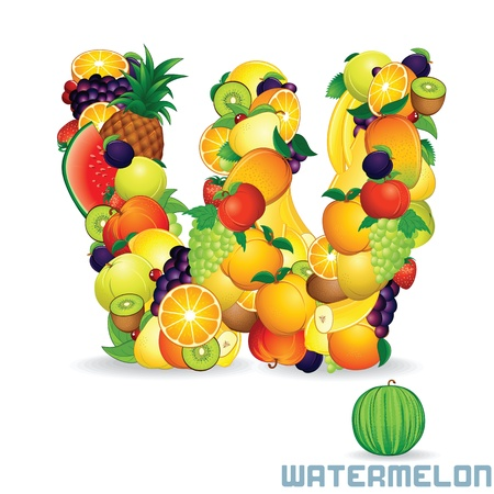 Alphabet From Fruit  Letter W photo