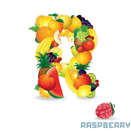 flavorful: Alphabet From Fruit  Letter R Stock Photo