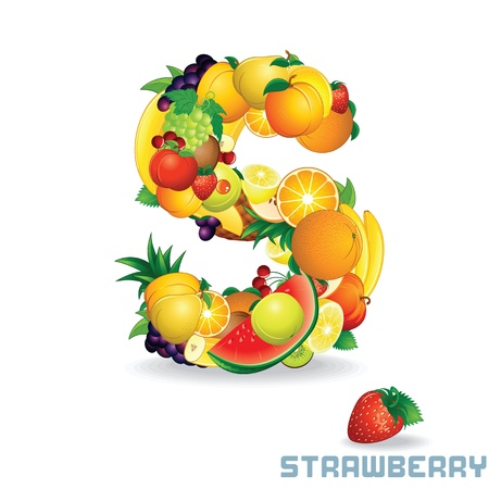 wild strawberry: Alphabet From Fruit  Letter S Stock Photo