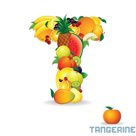 Alphabet From Fruit  Letter T photo