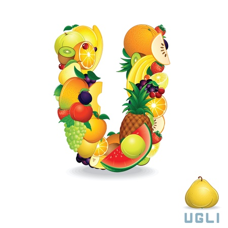 Alphabet From Fruit  Letter U photo