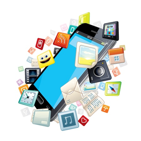 Mobile Smart Phone with Software Apps Icons Around Stock Photo - 20044880