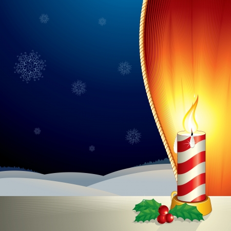 candlelit: Christmas Scene with Lighting Candle
