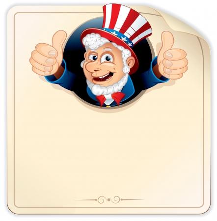 sam: Cartoon Uncle Sam on Blank Paper Sign