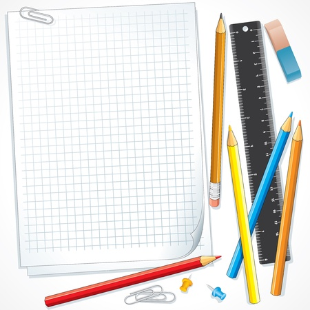 Notebook Paper with Pencils  Illustration illustration