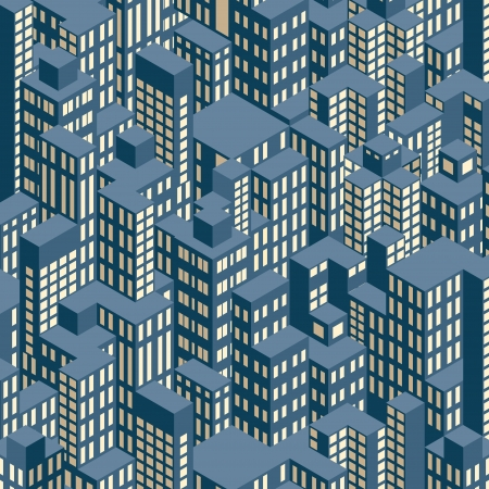 alleys: Night City  Isometric Pattern Illustration