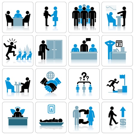 developing: Business Management and Human Resources Icon Set Stock Photo
