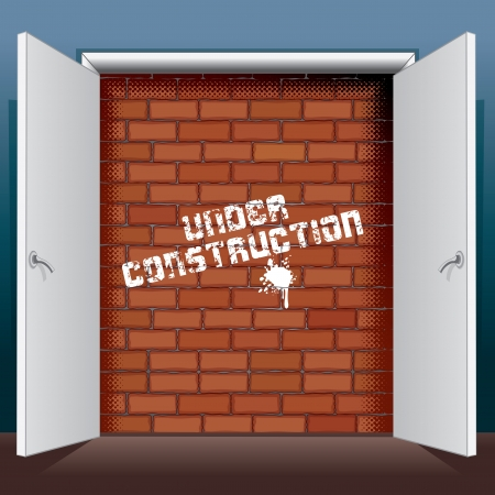 Doors Open to Brick Wall with Under Construction Stock Photo - 20044894