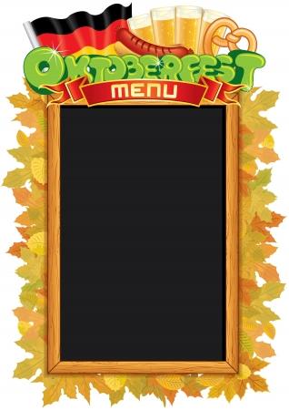 chope biere: Oktoberfest Blackboard Menu. Vector Template Illustration