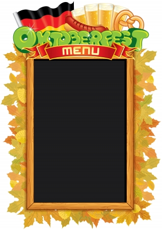 Oktoberfest Menu Blackboard. Vector Template Vector