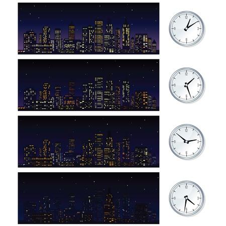 Night Time Skyline. Vector