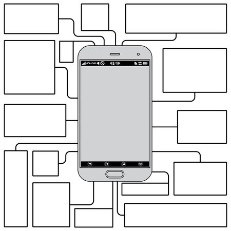 Touchscreen Phone Features. Blank Vector Template Vector