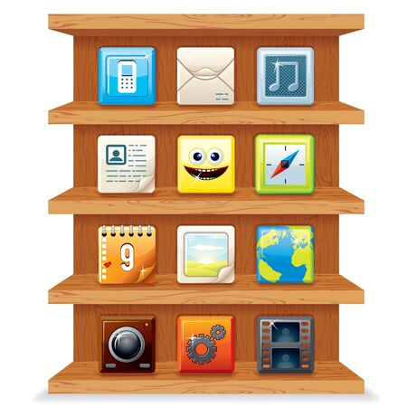 Wood Shelves with Computer Apps Icons.  Stock Vector - 21067780