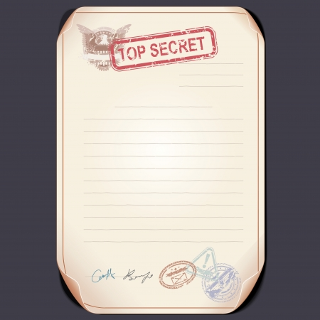 Old Top Secret Document on Table.  Vector