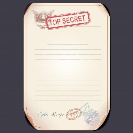 espionage: Old Top Secret Document on Table.  Illustration