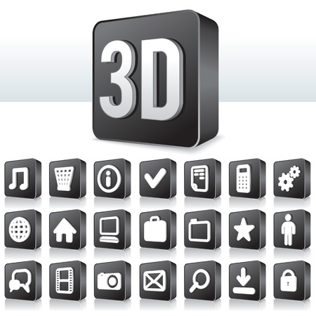 phone button: 3D Apps Icon. Collection of Technology Pictogram on Square Buttons Illustration